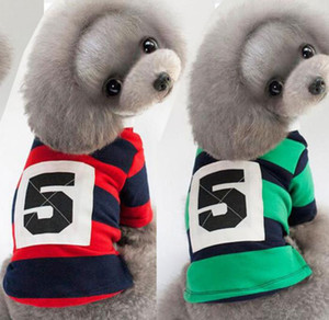 New dog clothes No. 5 striped POLO shirt Teddy T-shirt pet supplies pet dog classic TC dyed cotton striped shirt wholesale price