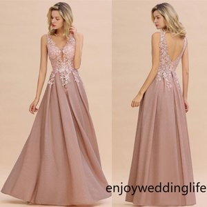 Novo projetado Dusty Rosa Vestidos de Noite 2020 Sexy Hollow Backless V Neck Appliced Prom Vestido Uma Linha Mãe Vestidos de Promoção CPPS1343
