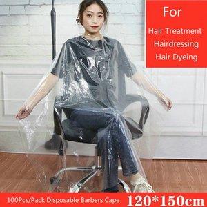 Univinlions 130150 Disposable PE Waterproof Apron Cut Perm Dye Hair Cape Gown Antistatic Barber HomeWrap Hairdressing Cloth hairclippersshop