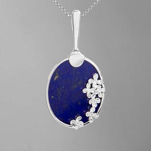 INATURE Argent 925 Fleur violette avec Lapis Lazuli Collier pendentif Colliers à longue chaîne pour femmes Bijoux Parti cadeau