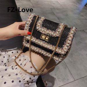 das mulheres Verão Pérola Crossbody Bag Embellished Tweed lã Denim acolchoado Shoulder Bag Mosaic Retro Torça Bloqueio Handbag Praia