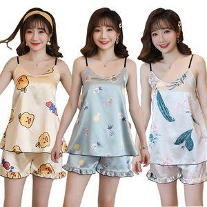 WAVMIT 2020 Summer Sleepwear Set New Thin Women's Underwear Underwear Silk Sling Shorts Dee Sexy Pajama Set Sling Womens Home Cloth Pyjamas