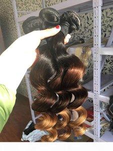 L Ombre Hair Extensions Rohboden Indian lösen Welle 3pcs Günstige Ombre Drei-Ton-Farbe 1b 4 27 30 Curly Menschliches Haar Weaves Bundles