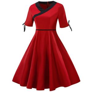 Summer Dress V Lead Split Joint Solid Color Will Pendulum Skirt