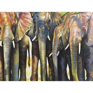 Elephant Canvas art oil painting Elephant Herd abstract animal paintings Hand painted colorful picture