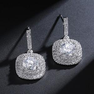 Semplice Piazza CZ Orecchini Orecchini nuziale gioielli vintage sposa promenade di sera orecchini delle donne regalo Argento Giallo Verde Blu