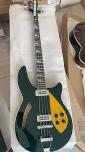 RIC 4005 Escuro Metálico Verde Semi Corpo Oco Baixo Elétrico Da Guitarra Corpo Maple, Dual Checkerboard Vinculativo, Gold Pickguard Truss Rod Capa