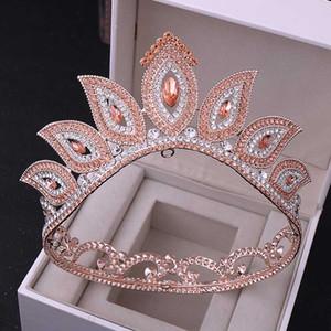 Bandas FORSEVEN retro barroco Oro Rosa Rojo Azul Verde Crystal tiaras coronas de pelo diadema novia del banquete de boda tocados de Noiva