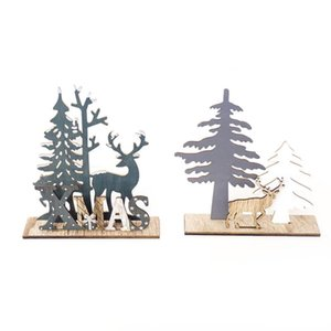 Christmas Ornaments Wooden Elk Xmas Tree DIY Crafts Home Party Garden Decor Christmas Gift
