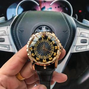 45mm 12 yuvarlak masa Üç boyutlu kadran tasarımcı YENİ erkek saatler moda en kaliteli izlemek kuvars horloge orologio di lusso knights