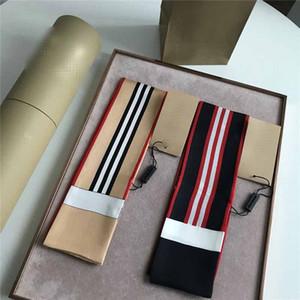 Mujer de marca Tie Decoración de Classice raya Impreso pañuelo de seda Diseñador pañuelos para el bolso Marca bufanda principal