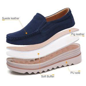 STQ zapatos casuales 2020 otoño de las mujeres zapatos de los planos plataforma de las zapatillas de deporte de cuero de gamuza se deslizan en los pisos tacones enredaderas mocasines