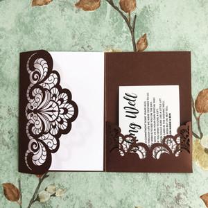20pcs heiße Verkaufs-Hochzeits-Einladung Perlen-Papier-Karte Tabellen-Karte Wedding Favor Dekoration Hochzeit Party Supplies gefaltete Einladung