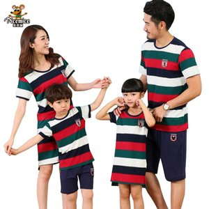 Family Clothing Mother Daughter dresses Father Son Striped T- Shirts and short pants Family Matching Clothes Sets Look