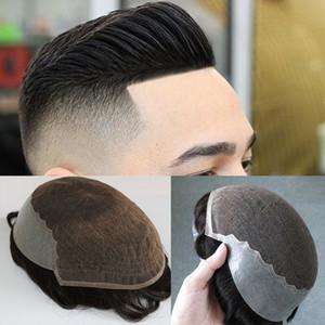 Cabelo Humano Toupee para Homens Renda Francesa Cap Remy Cabelo Branqueado Knots Wigs Wigs Hairpieces Replacemen