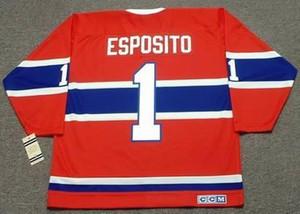 Personalizado hombres jóvenes mujeres Vintage #1 TONY ESPOSITO Montreal Canadiens 1968 CCM Hockey Jersey tamaño S-5XL o personalizado cualquier nombre o número