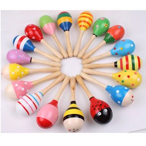 maracas خشبية راتل لعبة 1 قطع ملونة لطيف الطفل الطفل الموسيقية راتل شاكر حزب الأطفال هدية للتربية التعلم لعبة
