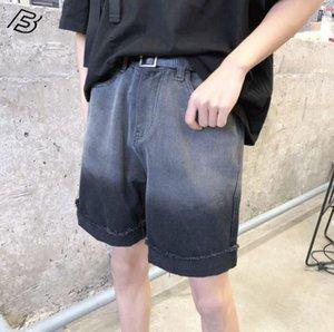 NiceMix longitud de rodilla hombres pantalones vaqueros pantalones cortos cintura alta pantalones chándal corto de denim de los hombre