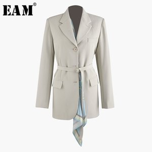[EAM] 2019 nouveau printemps été revers manches longues irrégulière écharpe fendue commune lâche bandage veste femmes manteau mode marée JT846