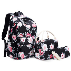 3pcs Set Backpack Women Flower Printing Backpacks College School Bags for Teenage Girls Bookbag Laptop Rucksack Travel Daypack
