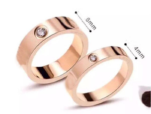 Titanium Stainless Steel Love Rings for Women Men jewelry Couples Cubic Zirconia Wedding Rings with box box 4mm 6mm