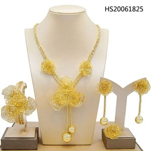 Yulaili Dubai Gold Jewelry Sets African Bridal Wedding Gifts for Women Saudi Arab Pendant Necklace Bracelet Earrings Ring Jewellery