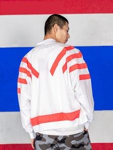 브랜드 대형 윈드 디자이너 자켓 스트리트 화이트 블랙 Sweatershirt 코트 지퍼 후드 얇은 스포츠 자켓 배트 윙 B100028L