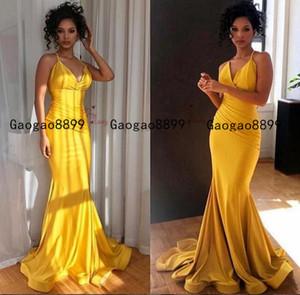2020 africano arabo della sirena di colore giallo Prom Dresses sexy di spaghetti splendido raso elastico increspato spettacolo formale degli abiti di sera