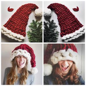 Noel Veli-Çocuk Şapka Sonbahar Kış Sıcak Örme Şapka Aile Tığ Skullies kasketleri Aile Tığ Cap LJJZ830 Caps örme
