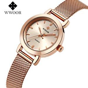 Pulsera de la venda WWOOR nuevo de las mujeres señoras de los relojes de cuarzo reloj de pulsera de oro rosa de malla Relogio vestido de la manera Faminino
