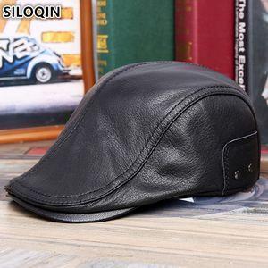 SILOQIN Autumn Winter Men's Original Leather Sheepskin Warm Berets Adjustable Size Brands Tongs For Men Acquade En Cuir