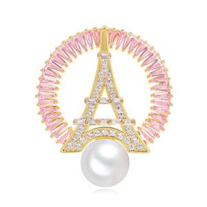Il nuovo modo Torre Eiffel Spilla Pins Per sposa del progettista di marca di colore rosa di cristallo brooches del fiore Donne Fiore all'occhiello Gioielli