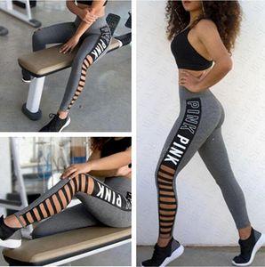 Drucken Frauen Trendy Letters Leggings Yoga Pants Entwurf aushöhlen Jogging-Training Laufen Leggings Stretch hohe elastische Gym Strumpfhosen D61205