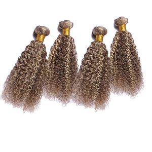 Double Wefted # 8 # 613 Mix Piano Couleur Bundles de Cheveux Humains 4 Pcs Brun Clair Bleach Blonde Vierge Kinky Bouclés Trame De Cheveux Extensions 10-30 pouce