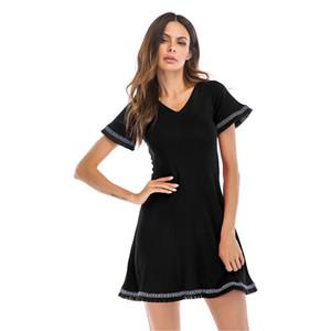 2019 Fast-Selling Full-Explosive Retro Dresses V-collar Back-strap получил талию с коротким рукавом A-образная юбка