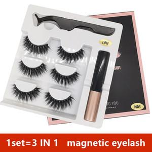 14 styles 3 Pairs Magnetic Eyelashes False Lashes +Liquid Eyeliner +Tweezer eye makeup set 3D magnet False eyelashes No Glue Needed