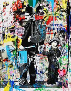 -vA. Tuval Wall Art Ev Dekorasyonu G76 üzerinde Alec Tekel Yüksek Kaliteli Handpainted HD Baskı Özet Graffiti Sanat Yağlıboya Resim Chaplin