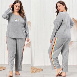 Two Piece Pants Sleepwear Crew Neck Long Sleeve Home Sets Plus Size Women Pajama Sets Rainbow Stripe Gray Color