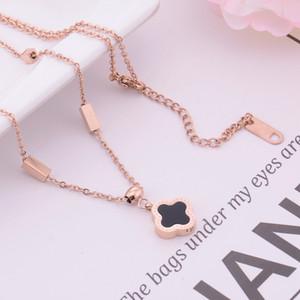 Moda jóia luxo designer para mulheres de titânio trevo de aço colar de pingente de presente do partido meninas