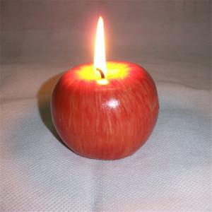 Бесплатная доставка 1PCS Рождество красный для Apple, Shape Фрукты Ароматические свечи Домашнее украшение Приветствуйте подарков для вечеринок