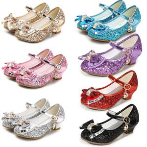 Snow Queen Kinder Prinzessin Leder Sandalen Baby-Kind-Mädchen-Absatz-Kleid-Schuhe Kristall Tanzen Sandalen Kinder Bow-Knoten Schuhe M935-1