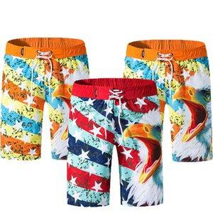 Mens New Summer Hawaiian Print Pantaloncini da spiaggia Surf Board Pantaloncini da bagno elasticizzati Quick Dry Mens Swimwear Plus size