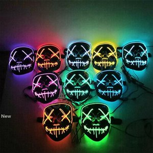 20 styles Masque LED Halloween Party Glowing Masques cosplay club éclairage Party DJ Mask Bar Joker gardes visage ZZA1188-2 120PCS