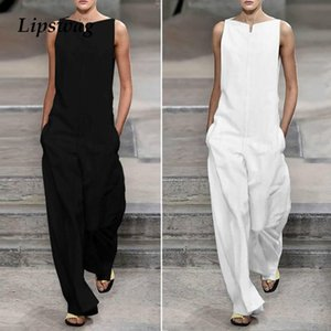 Lipswag Femmes Élégant Solide Lâche Jumpsuit Eté Mode Sans Manches Jumpsuit Barboteuses Dames Sreetwear Poches Salopette Combi-pantalon