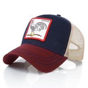 Сетка Snapback Caps Животные Вышивка Бейсболки Мужчины Женщины Snapback Хип-хоп Шляпа Летняя дышащая сетка Sun Gorras Унисекс