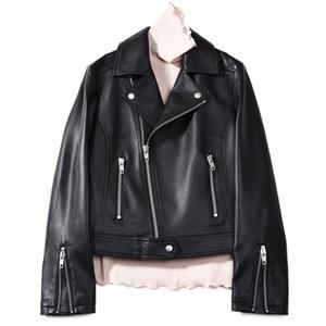 Mulheres Europeia Genuine Leather Jacket Zipper fresco do estilo Jacket real Sheep Couro Motociclista Jackets