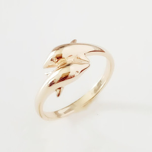 2020 New Fashion Rings 585 Gold Color Women Jewelry Hot Selling Cute Dolphin Shape Metal Rings Designs for Women