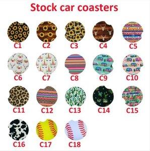 Neoprene auto Coasters baseball girasole Arcobaleno Leopard Coppa Car Holder Coasters per la Coppa auto Tazze Mat Teacup Home Decor Accessori DHD349
