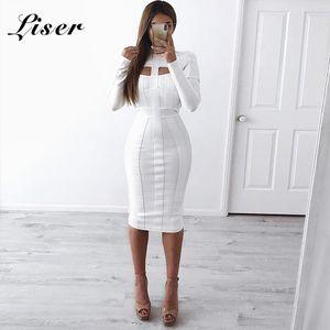 Liser 2019 جديد الصيف النساء اللباس المدورة ضمادة اللباس مثير bodycon أنيقة فساتين المشاهير حزب الأبيض vestidos بالجملة