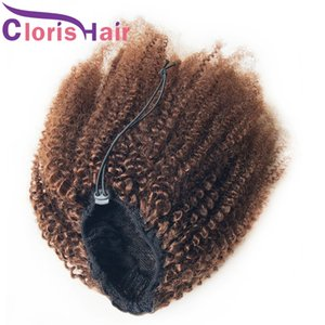 #4 Dark Brown Drawstring Pony Tails Thick Human Hair Extension Clip Ins Afro Kinky Curly Raw Indian Remy Ponytail For African American Women